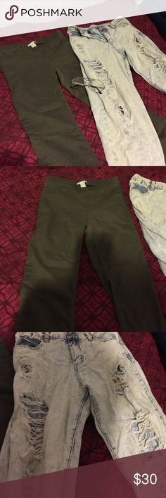 Jeggings, distress bf jeans combo Olive stretch pants and distressed boyfriend jeans. Jeans have small stain shown in the pictures. Jeans don't have a tag with size but are in the M range ! H&M Jeans Straight Leg