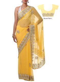 Yellow Embellished Chiffon Saree. Really pretty!