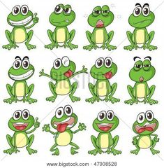 Illustration Different Faces Frog On White Stock Vector (Royalty Free) 136319261 Cartoon Faces, Cartoon Drawings, Cartoon Art, Frog Activities, Animal Activities, Funny Frogs, Cute Frogs, Animated Frog, Frosch Illustration