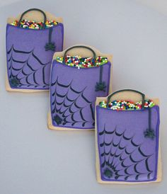 Make Me Cake Me on Etsy...i like your stuff.   Purple Halloween Trick-or-Treat Bag Sugar Cookies with Royal Icing Spiders #food #recipe