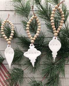 New Pic farmhouse clay ornaments Strategies Vintage Bulb Style Handstamped Clay and Wood Bead Farmhouse Christmas Ornament Set Farmhouse Christmas Ornaments, Homemade Christmas Decorations, Christmas Ornament Sets, Rustic Christmas, Christmas Holidays, Scandinavian Christmas Ornaments, Bohemian Christmas, Christmas Clay, Wood Bead Garland