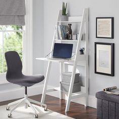 Mainstays Contemporary 3 Shelf Ladder Desk, White Finish Image 1 of 4 Shelves In Bedroom, Bedroom Desk, Small Room Bedroom, Ladder Shelf Desk, Desk Shelves, Desks For Small Spaces, Small Desk Space, Desk For Small Room, Desk In Living Room