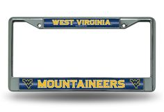 West Virginia WVU Mountaineers Bling Chrome License Plate Frame