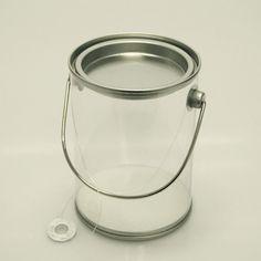 Clear Paint Pails Container Tin Lids Hanging Decor