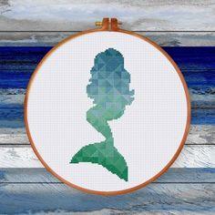 ThuHaDesign Geometric Mermaid cross stitch pattern sea green blue modern design pdf