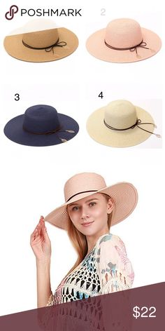 Straw Summer Hat with Band Beautiful hats, you can change the shape! 100% Paper Accessories Hats