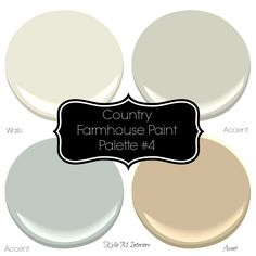 Country farmhouse style paint palette with Sherwin Williams paint colour ideas