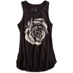Lucky Brand Photographic Rose Tank ($18) ❤ liked on Polyvore featuring tops, shirts, tank tops, tanks, rose tops, rose shirt, rosette top, rose tank top and shirts & tops