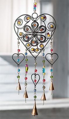 Namaste Metalwork Heart Windchime with Beads Bohemian metalwork heart Handmade for Namaste on a fair trade basis in Northern India by a family based