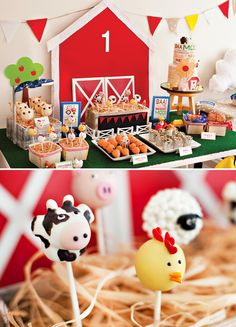 Farm+1st+Birthday+Party+–+Part+2+{The+Dessert+Table} Barn yard kids birthday party