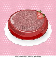 Picture of strawberry mousse cake with fruit filling decorated by powdered sugar on the glossy glaze.The cake is on the pink polka dotted background.