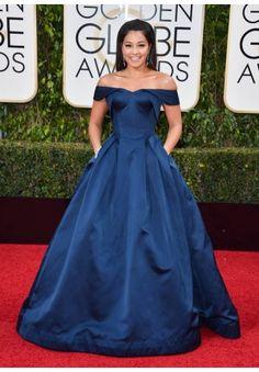 86a3cba09fd Gina Rodriguez Navy Blue Off-the-shoulder Red Carpet Dresses Golden Globes  2016