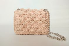 Crochet Luxurious Small Pink Shoulder Bag With Chain, Small Crochet Evening Purse,Handmade Pink Clutch, Gift For Her, Women Luxury Handbag Pink Shoulder Bags, Pink Clutch, Human Trafficking, Knit Or Crochet, Luxury Handbags, One Pic, Printed Cotton, Bucket Bag, Gifts For Her