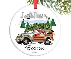 Santa in the City - Boston Ornament - 5