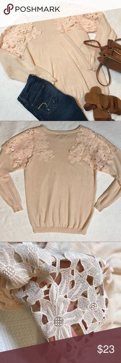 Forever21 Plus Size long sleeve sweater size XL EUC! Sweater material. Open crochet shoulder. No rips, hole, stains. Forever 21 Tops Tees - Long Sleeve