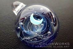 宇宙ガラスペンダント「月と雲海」 spaceglass. galaxyglass. moon. handmade. pendant.  ColorWorks