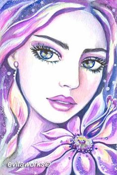 Fantasy Woman Face | EvitaWorks Fantasy Women, Fantasy Art, Colorful Drawings, Art Drawings, Muse Kunst, Muse Art, Zen Art, Collage, Whimsical Art