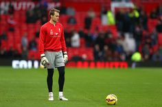 Simon Mignolet of Liverpool looks on prior to the Barclays Premier League match between Manchester United and Liverpool at Old Trafford on December 14, 2014 in Manchester, England