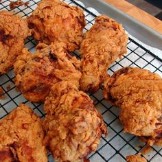 "While it may not be traditional for ""Southern"" fried chicken, I love the tangy tenderization that the buttermilk provides. After the buttermilk soak, dredge the chicken pieces in seasoned flour, and fry them in hot oil until crisp and golden. Fried Chicken Legs, Homemade Fried Chicken, Crispy Fried Chicken, Fried Chicken Recipes, Southern Buttermilk Fried Chicken, Chicken Bites, Chicken Meals, Roasted Chicken, Baked Chicken"