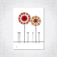 PLANTABLE hand painted GREETING card two red by PLANTMEcards, $12.00