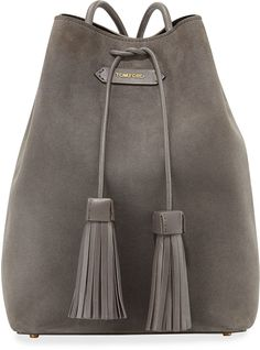 TOM FORD Suede Double-Tassel Medium Bucket Bag, Dark Gray