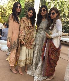 """Anaam in #UmaimaMustafa, Aisha in #FarnazMustafa, Shazah in #SanaSafinaz and Sadiqa in #FarnazMustafa at #ShazahAyub's wedding Milad today #teamshazah…"""
