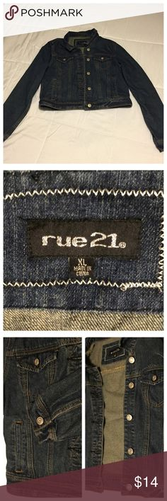 """Rue 21 Denim Jacket Cute and lightweight jean jacket from Rue 21 that is a must have wardrobe staple. This jacket can go with almost any outfit. It's in great condition, hardly any wear at all. Measures shoulder to hem 19"""", buttoned- armpit to armpit 19"""", and the sleeve length is 25 1/2"""" Rue 21 Jackets & Coats Jean Jackets"""