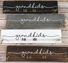 Excited to share the latest addition to my shop: Grandkids sign The perfect gift for the perfect Grandparents! This listing is for 1 hand-painted wood sign, they have been stained and I have hand-painted Diy Wood Signs, Painted Wood Signs, Vinyl Signs, Pallet Signs, Family Wood Signs, Custom Wood Signs, Wood Signs For Home, Barn Wood Signs, Scrap Wood Projects