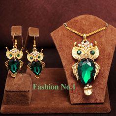Nueva Llegada de La Manera de Cristal Plateado del Oro Búho Collar de Los Colgantes/Pendientes Animal Joyería de La Boda Para Las Mujeres