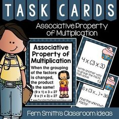 Associative Property of Multiplication - Preview File Contains Four #FREE Associative Property of Multiplication Task Cards #TPT #FernSmithsClassroomIdeas