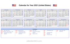 US 2021 Calendar with Holidays Us Holiday Calendar, Yearly Calendar, 2019 Calendar, Federal Holiday, Holiday Dates, Us Holidays, Monthly Calendar Template, Online Calendar, Weekly Planner