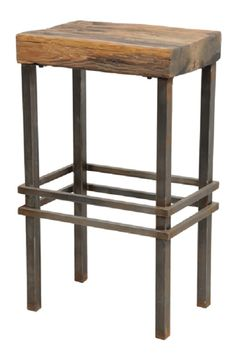 Reclaimed Wood and Iron Stool