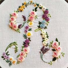 Embroidery Alphabet, Embroidery Monogram, Simple Embroidery, Silk Ribbon Embroidery, Hand Embroidery Designs, Embroidery Kits, Embroidery Supplies, Flower Embroidery, Broderie Simple