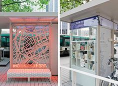 "Paris tests out ""bus stop of the future,"" a blend of design and functionality, including a lending library of books while you wait for your public transport ride to arrive."