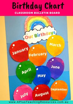 This DIY Balloon & Rainbow Birthday Chart For Classrooms will look gorgeous as a bulletin board display. It's bright & bold and a great way to display students' Birthdays. There's a full colour version and a low ink version too for you to print onto coloured card. Save for later or download this Birthday chart idea from our website today!