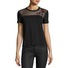 Red Valentino Short-Sleeve Tee w/ Point d'Esprit Yoke & Embroidered Ladybugs