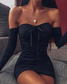 Sexy Off Shoulder Black Long Sleeve Dress Strapless Bow Tied Mini Bodycon Dress Summer Party Sexy Women Off Shoulder Dresses, Black / XL Tight Dresses, Sexy Dresses, Cute Dresses, Summer Bodycon Dresses, Black Bodycon Dress Outfit, Sleeve Dresses, Dress Summer, Party Dresses, Teen Fashion Outfits
