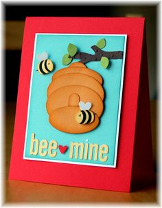 Best day Stampin' Up! Punch Art Heather Klump Bee Mine Tutorial to turn Stampin' Up! Paper Punch Art, Punch Art Cards, Arte Punch, Bee Cards, Valentine Day Cards, Paper Cards, Kids Cards, Cool Cards, Creative Cards