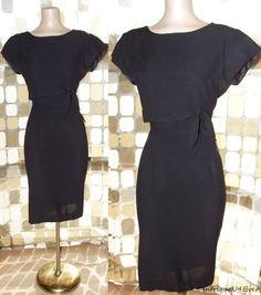 $49.99- Vintage 50s Curvy Black Side Tie Wiggle Pencil Dress MADMEN Pin-Up L/XL