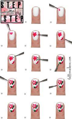 Christmas Poinsettia nails with essie: tutorial.