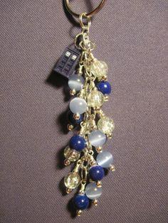 Navy, Cornflower Blue, and Clear Glass Bead Purse Charm / Key Chain with Tardis