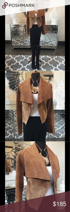 Free People Suede Jacket Gorgeous Free People suede jacket. Stunning camel color. Fabulous collar. Great drape and narrows at waist. Pair with your favorite tank and white skinny jeans this summer! New without tags. Never worn, Free People Jackets & Coats