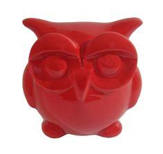 Escultura Coruja Cofre Cerâmica Vermelha - Gift Express