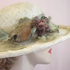 Romantic summer natural straw hat for wedding by savoirfairehats, $135.00