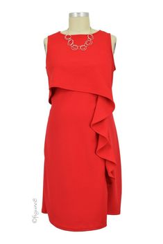 Francesa Cascade Ruffle Nursing Dress in Red by Maternal America with free shipping