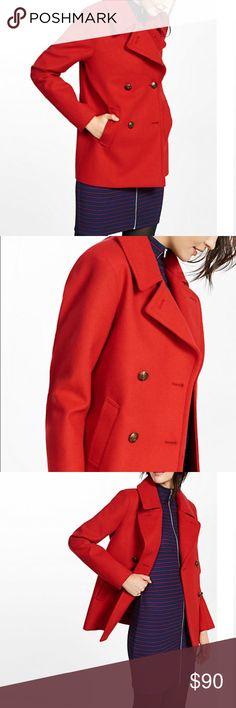 Express Red Double Breasted Peacoat A classic style in chic red, this coat is crafted from soft fabric with a slight textured look. Silky lining, a substantial collar and comfortable weight make it a lovely choice over a sheath dress. Wide notched collar; Long sleeves Double breasted front with logo buttons Slant hand pockets; Interior button pocket Lined; Straight hem. Polyester/Rayon Express Jackets & Coats Pea Coats