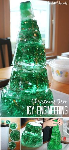 How many ways can you engineer a Christmas tree! We have thought of a few fun ways to play around with Christmas tree STEM this holiday season that don't use just real trees! This icy Christmas tree STEM project was super fun and also a fun family activity. We had a great time piecing together this icy Christmas tree before it melted. Check out the unique ways that science and STEM can be a part of your holiday activities. #science #STEM #christmasscience #ece #earlylearning