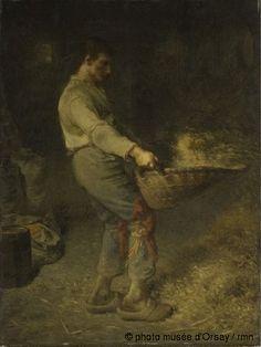 Jean-François Millet Un vanneur vers 1848 huile sur bois, réplique H. 0.795 ; L. 0.585 musée d'Orsay, Paris, France ©photo musée d'Orsay / rmn