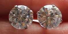 Sterling Silver Large CZ Stone Earrings by onetime on Etsy, $6.25