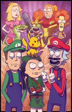Los personajes de la serie Rick y Morty como si fueran personajes de los videojuegos de Nintendo.